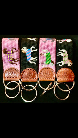Classic Needlepoint Horses in Blankets Key Chain