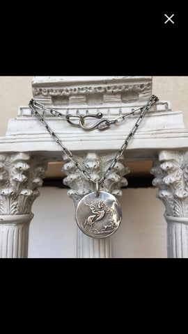 Roman Goddess Diana Sterling Silver Horse Necklace