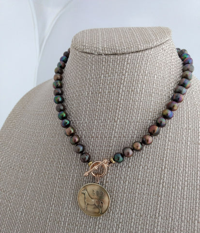 Genuine Irish Pence Coin on Brown Peacock Baroque Pearls Necklace