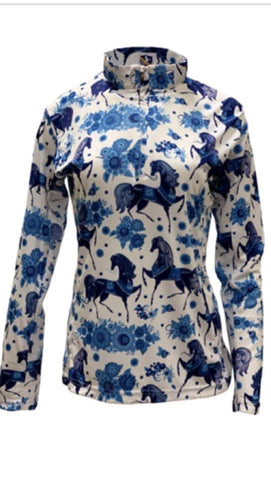 Easy Care Blue Horse w/Flowers Sun Shirt