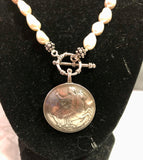 Moon Goddess Selena Coin on White Baroque Pearls Necklace