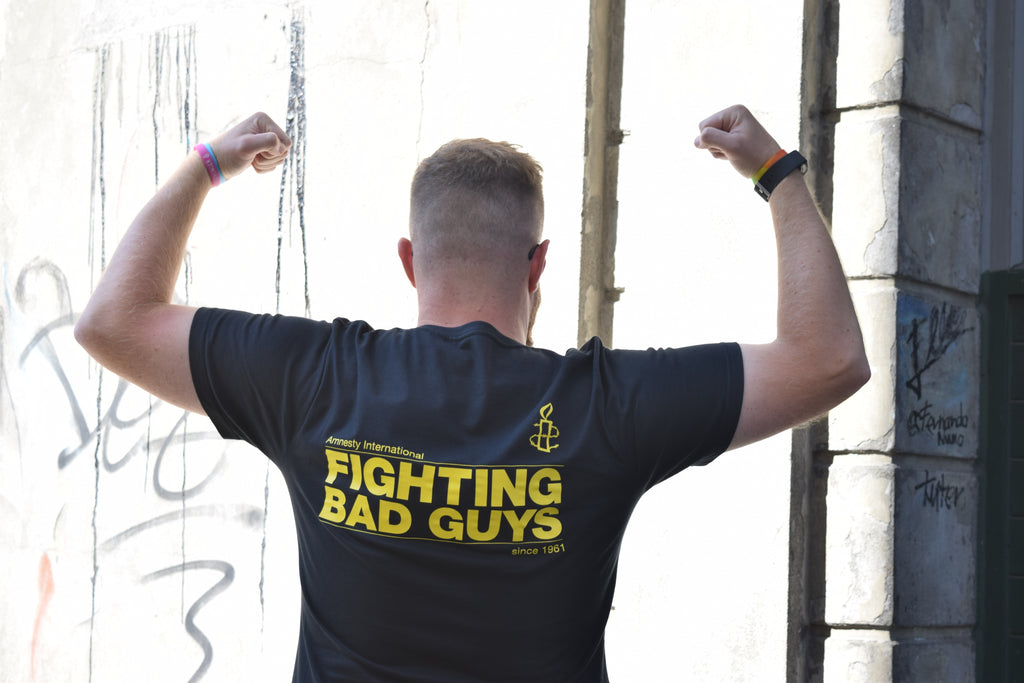 Fighting Bad Guys since 1961 T-Shirt Black/Grey - Amnesty International Ireland