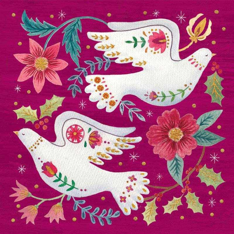 Amnesty Folk Art Doves Christmas Card - Amnesty International Ireland