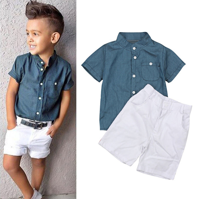 Boys White Shorts with Blue Button up Shirt 2 Piece Outfit