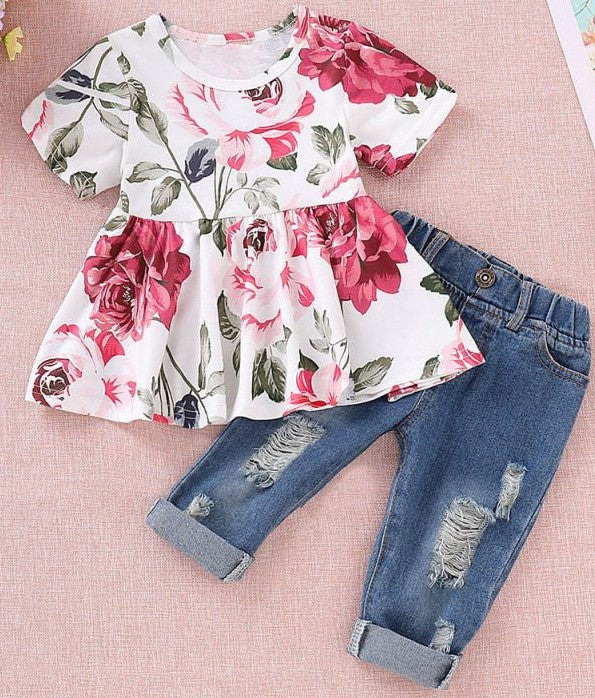Girl's Floral Ruffle Shirt with Ripped Jeans