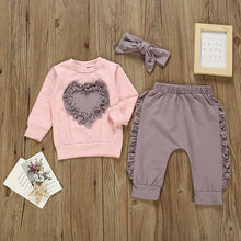 Load image into Gallery viewer, Heart Sweat Suit Girls Outfit Set