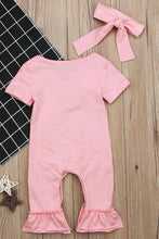 Load image into Gallery viewer, Hello World Pink Ruffle Romper with Headband
