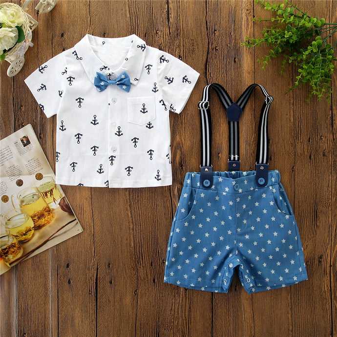 Stars and Anchors 4 Piece Suspenders Outfit