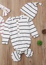 Load image into Gallery viewer, Black and White Striped Knot Tie Mermaid Onesie with Hat