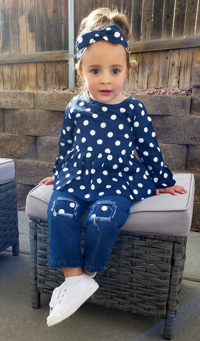 Blue Bell Sleeve Polka Dot Top with Patchwork Jeans