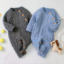 Load image into Gallery viewer, Cable Knit Rompers (multiple colors)