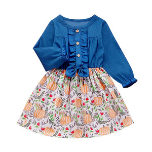 Ruffle Denim and Pumpkin Dress