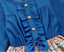 Load image into Gallery viewer, Ruffle Denim and Pumpkin Dress