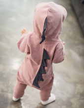 Load image into Gallery viewer, Hooded Dinosaur Romper (multiple color options)
