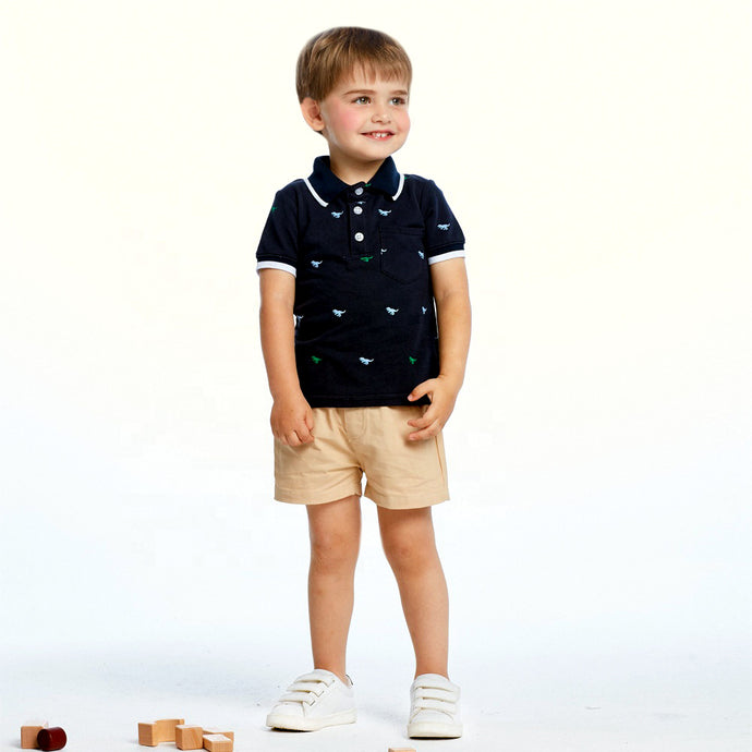 Dinosaur Polo Shirt with Khaki Shorts Outfit (multiple color options)