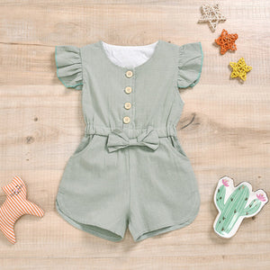 Fly Sleeve Shorts Romper with Bow