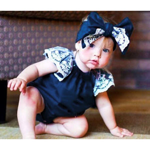 Ruffle Lace Fly Sleeve Bubble Romper with Headwrap (multiple color options)
