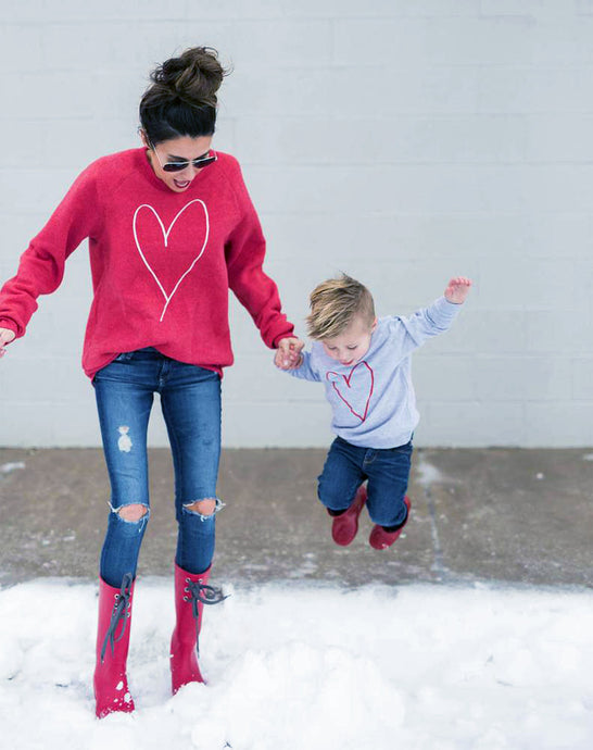 Love Heart Mommy & Me Long Sleeve Tees