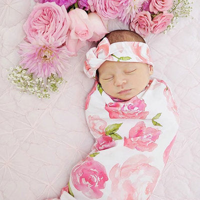 Pink Floral Swaddle Receiving Blanket with Headband Set