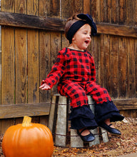 Load image into Gallery viewer, Buffalo Plaid Ruffle Romper