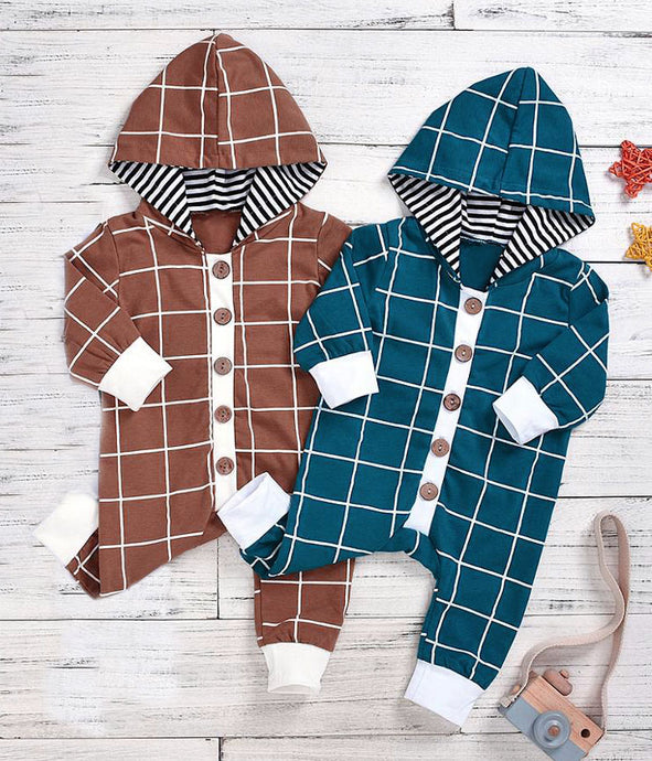 Checks Hoodie Romper (multiple colors)