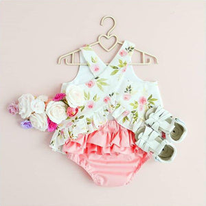 Rose Bud Criss-Cross Open Back Top with Ruffle Butt Bloomers