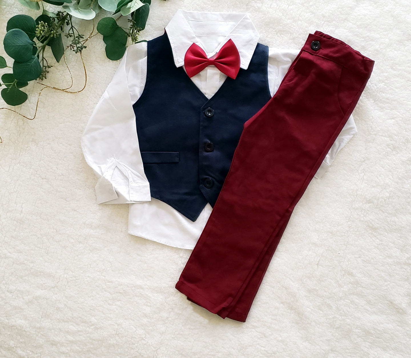 Special Occasion Boys Burgundy 3 Piece Suit with Bowtie
