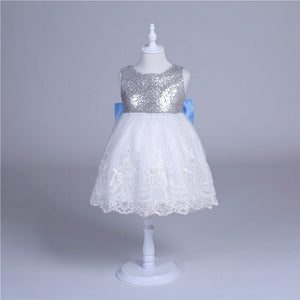 Sequins and Lace Special Occasion Dress with Blue Bow