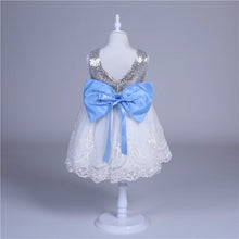 Load image into Gallery viewer, Sequins and Lace Special Occasion Dress with Blue Bow
