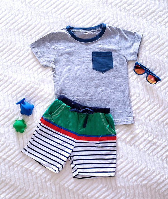 Striped Shorts with Pocket T-Shirt
