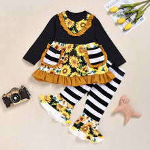 Load image into Gallery viewer, Sunflowers Ruffles and Stripes Outfit
