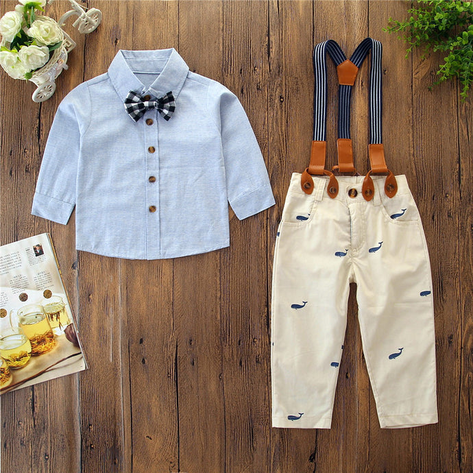Long Sleeve Button-Up with Khaki Whale Print Pants 3 Piece Outfit