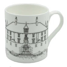 Load image into Gallery viewer, Image shows a white bone china cup depicting a line drawing of Bodmin Keep and the First World War memorial of a soldier