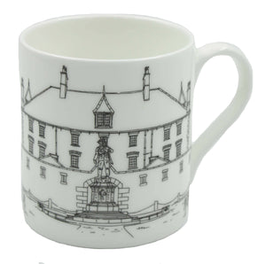 Image shows a white bone china cup depicting a line drawing of Bodmin Keep and the First World War memorial of a soldier