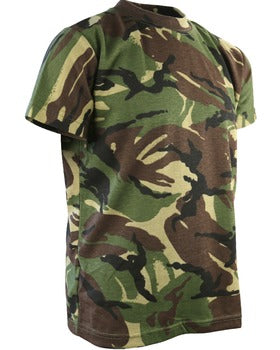 Image shows a camouflage t-shirt of dark green, brown, black and yellowy-green.
