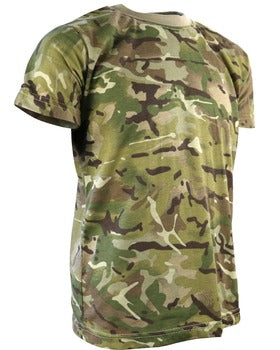 The image shows a t-shirt in camouflage of light greens and browns with a light brown round collar.