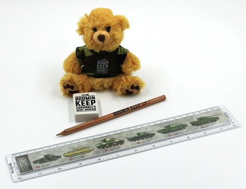 Image shows a Bodmin Keep bear in camo t-shirt, tank ruler, Bodmin Keep ruler and Bodmin Keep eraser