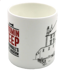 The image shows a white bone china cup with part of the Bodmin Keep logo in red and black and part of a line drawing in black of Bodmin Keep