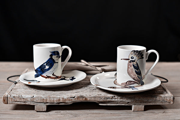 Birds-Handmade Ceramic Mug and Plate