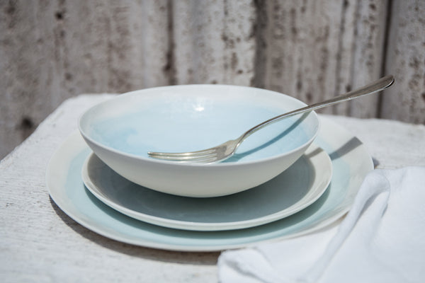 Acquarello - 3-Piece Porcelain Dinner Set with Watercolor Effect & Urban and Contemporary Dinner Plates and Dinnerware Sets \u2013 DishesOnly