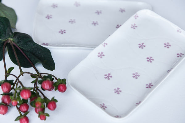 handmade white porcelain tray with small flowers