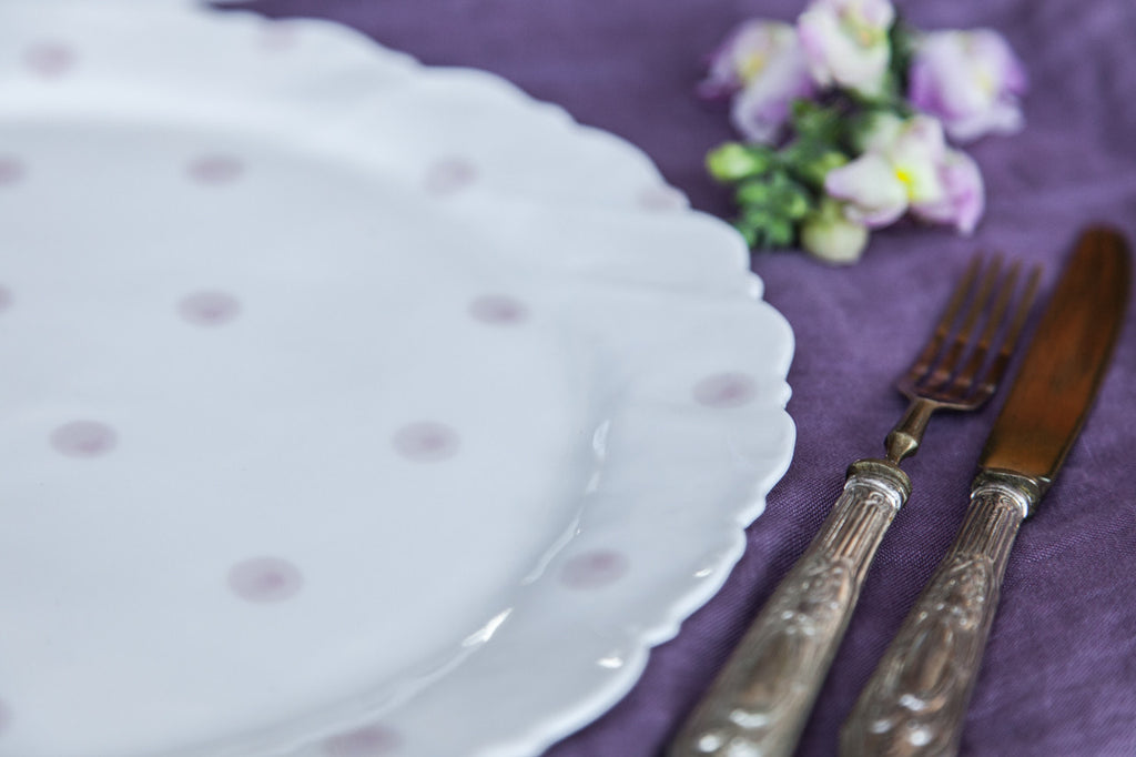 Handmade Porcelain Platter with Pink Dots
