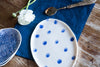 handmade porcelain tray with blue dots