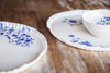handmade white porcelain platter with blue floral motifs