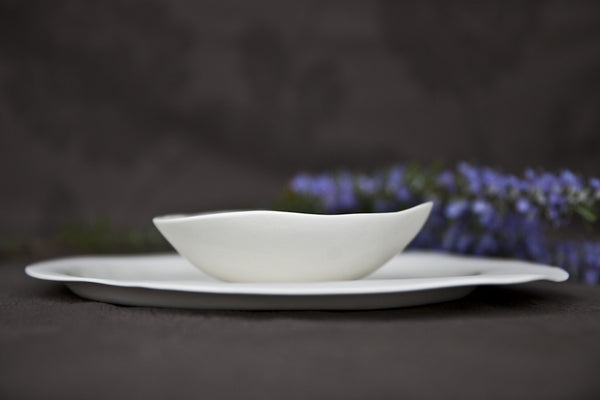 porcelain soup & pasta bowl with an irregular shape
