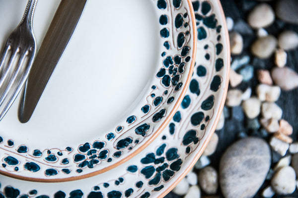 Handmade Ceramic Dinner Plate with Decorated Edges