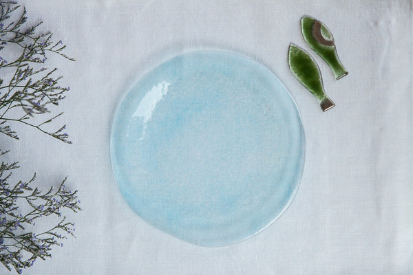 Aqua - Handmade Pastel Glass Dinner Plate