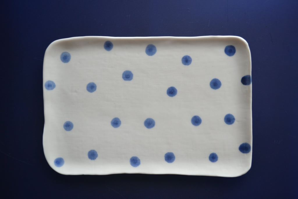 VassoBlue - Handmade Porcelain Tray with Blue Dots