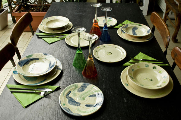 Hand-Painted Ceramic Dinner Set by Hans Fischer