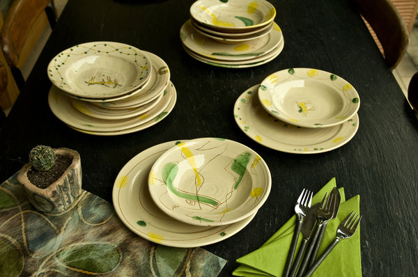 Engraved Ceramic Dinner Set by Hans Fischer